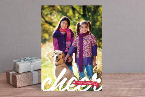 Cheer Script Christmas Photo Cards