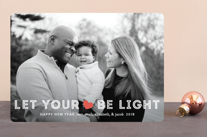 """""""Be Light"""" - Christmas Photo Cards in Holly Red by Jennifer Wick."""