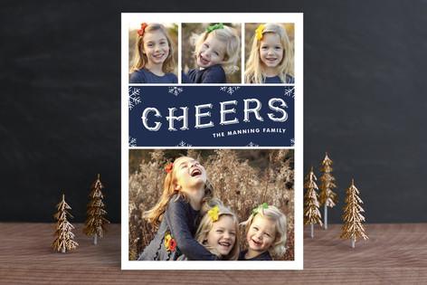 Cheerful Snowfall Christmas Photo Cards