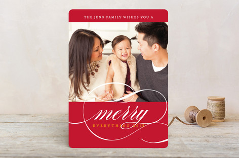 Classic Stripes and Swashes Christmas Photo Cards