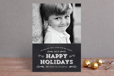 Chalkboard Flourish Christmas Photo Cards