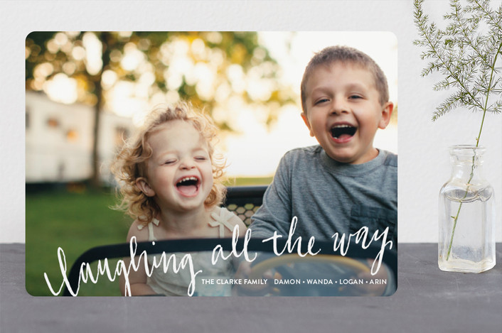 """Laughing All the Way"" - Funny Christmas Photo Cards in Frost by Rebecca Turner."