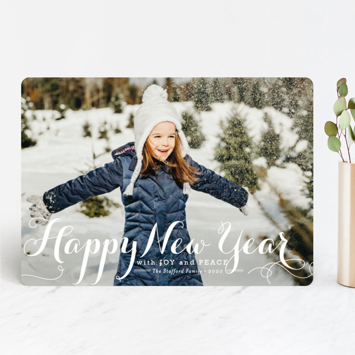 """Spirit of Christmas"" - Full-Bleed Photo Christmas Photo Cards in Snow by Design Lotus."