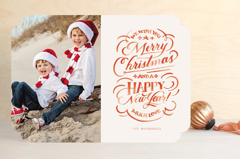 Hand-Lettered Wishes Christmas Photo Cards