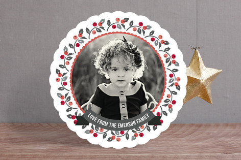 Holly in the Round Christmas Photo Cards