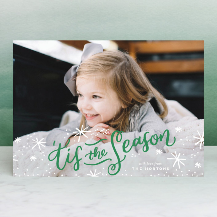 """""""'Tis the Holiday Season"""" - Christmas Photo Cards in Poinsettia by Frooted Design."""