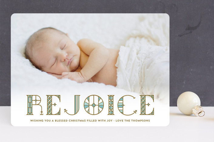 """Stainglass Rejoice"" - Vintage Christmas Photo Cards in Robin's Egg by Coco and Ellie Design."
