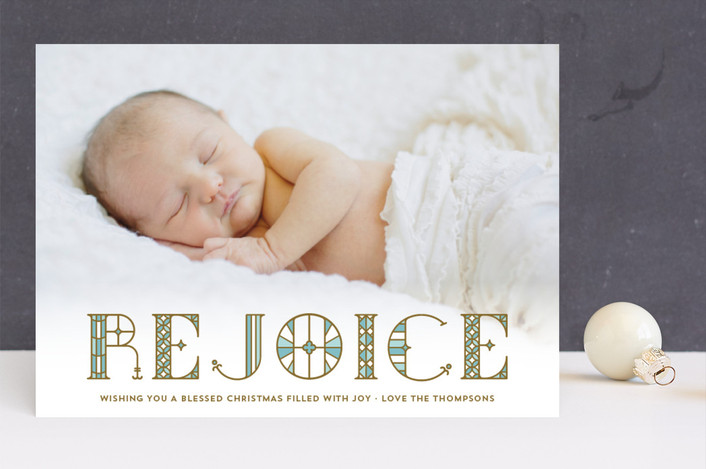"""""""Stainglass Rejoice"""" - Full-Bleed Photo, Modern Christmas Photo Cards in Robin's Egg by Coco and Ellie Design."""