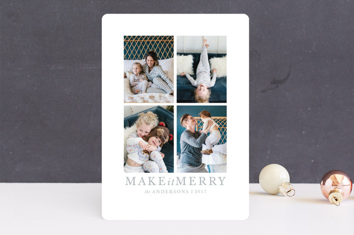 """make it merrier"" - Christmas Photo Cards in Frost by Jula Paper Co.."