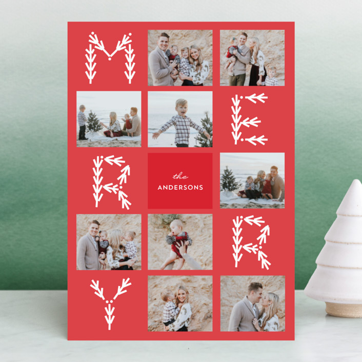"""""""Merry Collage"""" - Christmas Photo Cards in Candy Cane by Anupama."""