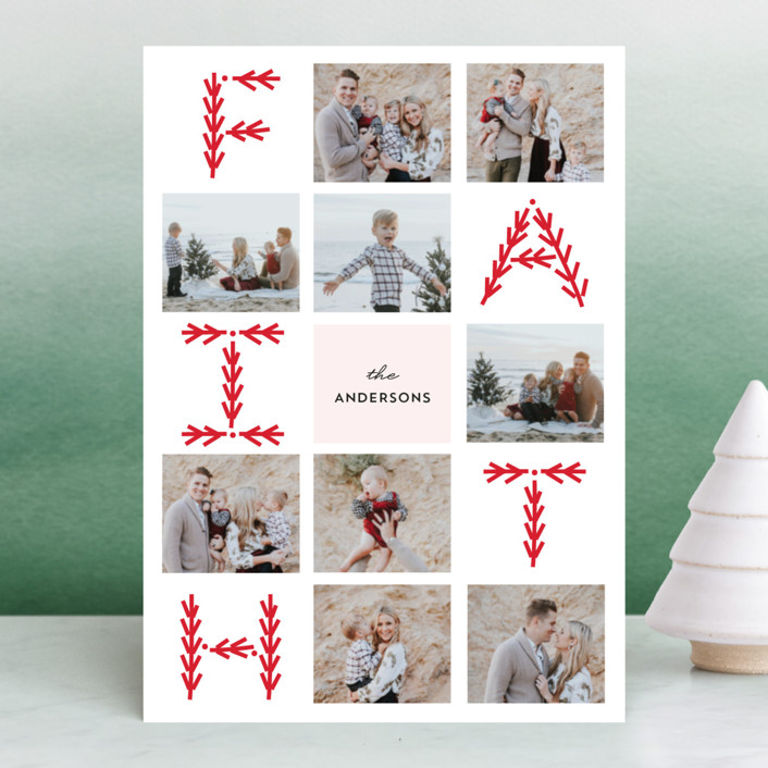 """Merry Collage"" - Christmas Photo Cards in Candy Cane by Anupama."
