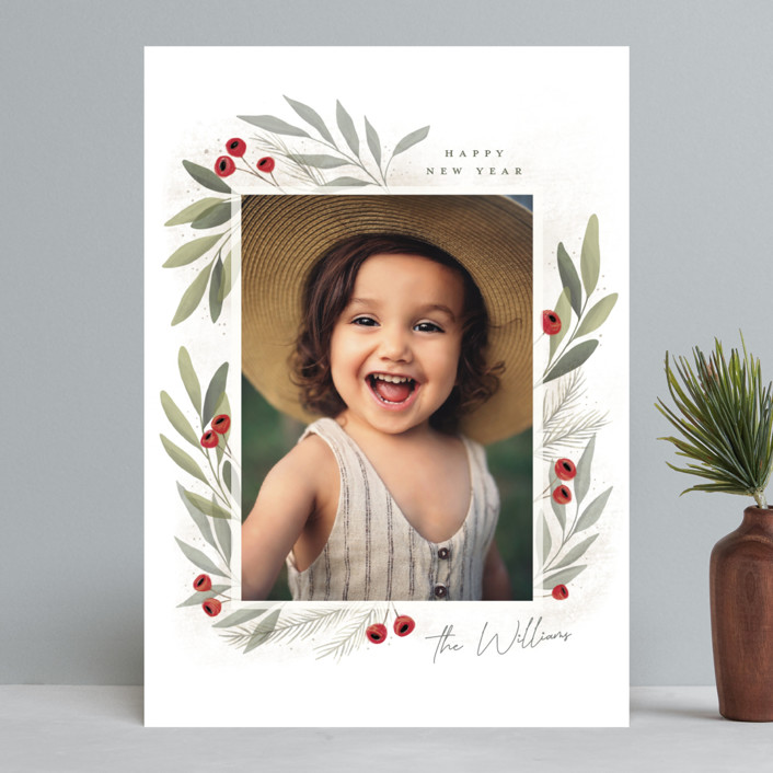 """""""Merry Botanical"""" - Christmas Photo Cards in Pearl by Cindy Reynolds."""