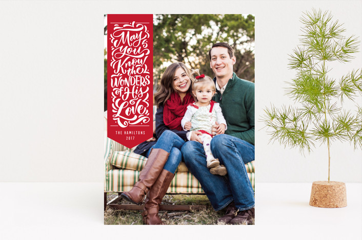 """Wonderful Ribbon"" - Christmas Photo Cards in Poinsettia by Laura Bolter Design."