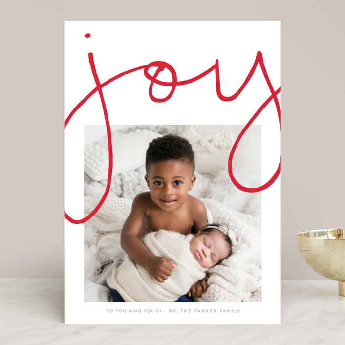 """More Joy"" - Modern Christmas Photo Cards in Polar Bear by Kaydi Bishop."