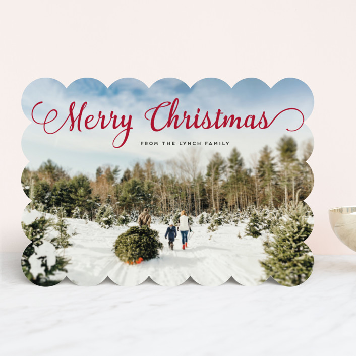 """""""Stylish and Merry"""" - Christmas Photo Cards in Venetian Red by Alexandra Dzh."""