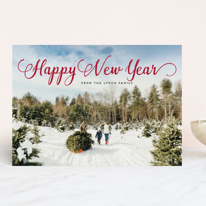 """Stylish and Merry"" - Christmas Photo Cards in Venetian Red by Alexandra Dzh."
