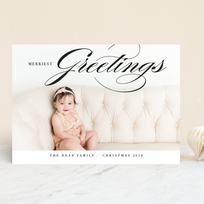 """""""Merriest Greetings"""" - Christmas Photo Cards in Charcoal by Bethany Anderson."""