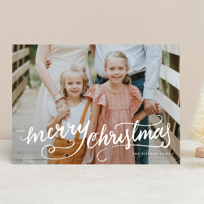 """Winter Brush"" - Bohemian Christmas Photo Cards in Snow by Kristen Smith."