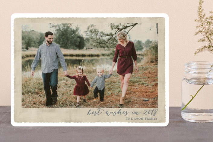 """Deckled Merrier than Ever"" - Vintage Christmas Photo Cards in Parchment by Kaydi Bishop."