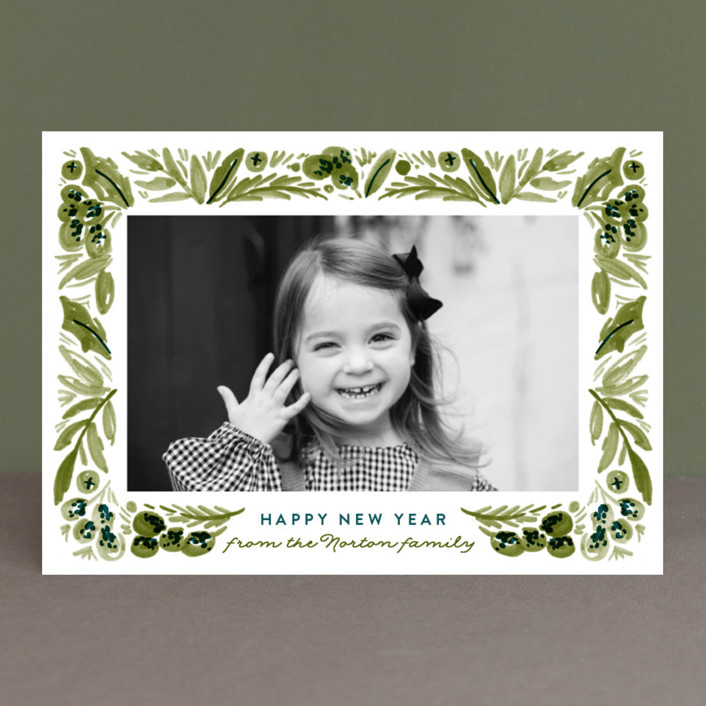 """""""Painted Foliage Frame"""" - Christmas Photo Cards in Pine by Alethea and Ruth."""