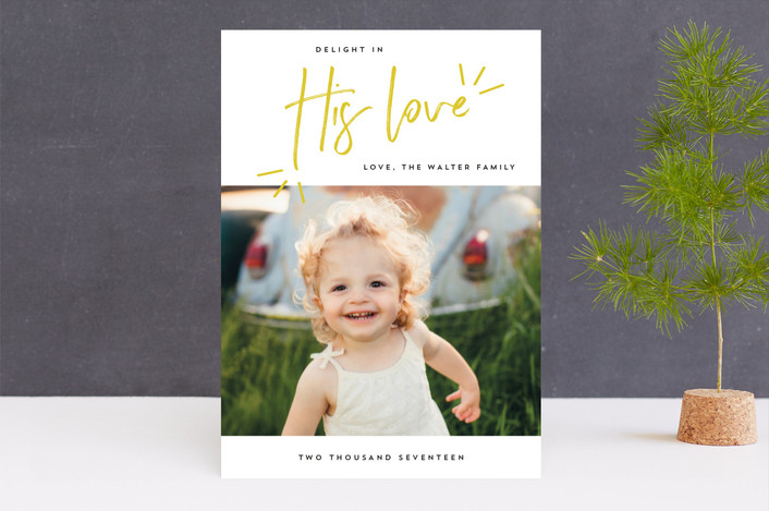 """Delight in His Love"" - Modern Christmas Photo Cards in Mustard by Anna Elder."