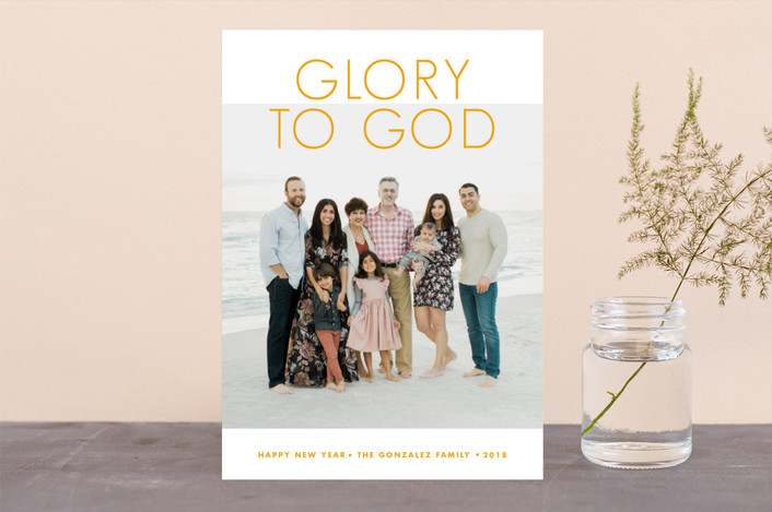 """""""God's Glory"""" - Christmas Photo Cards in Frost by Paper and Parcel."""