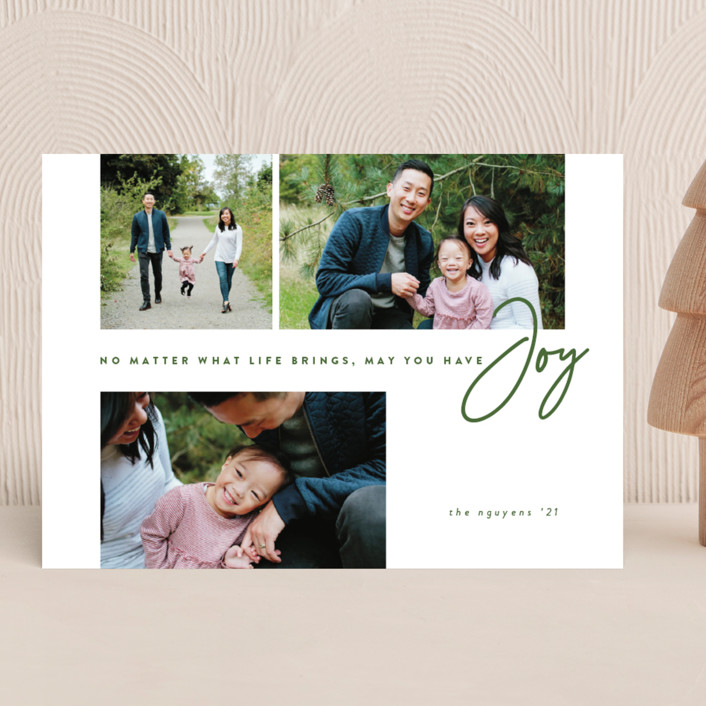 """""""Have Joy"""" - Modern Christmas Photo Cards in Pine by Brianne Larsen."""