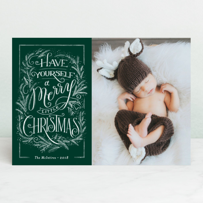 """Merry traditional Christmas"" - Vintage Christmas Photo Cards in Candy Cane by Jennifer Wick."
