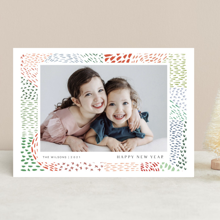 """Merry Marks"" - Bohemian Christmas Photo Cards in Holly by Kelly Ventura."