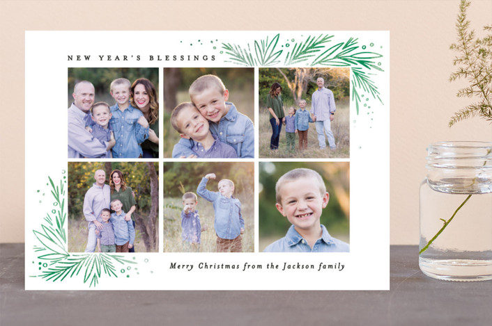 """""""Christmas Blessing Pine Corners"""" - Christmas Photo Cards in Leaf by Alethea and Ruth."""