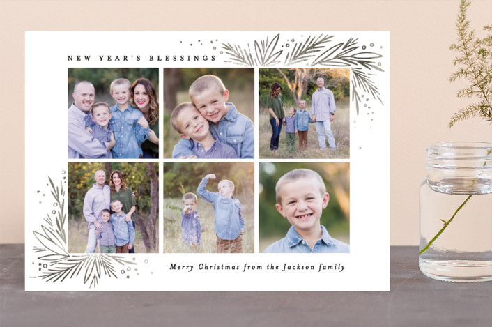 """Christmas Blessing Pine Corners"" - Christmas Photo Cards in Leaf by Alethea and Ruth."