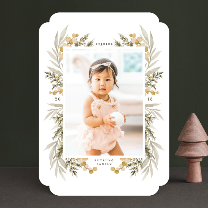 """Symmetrical Floral Border"" - Christmas Photo Cards in Cranberry by Wildfield Paper Co.."