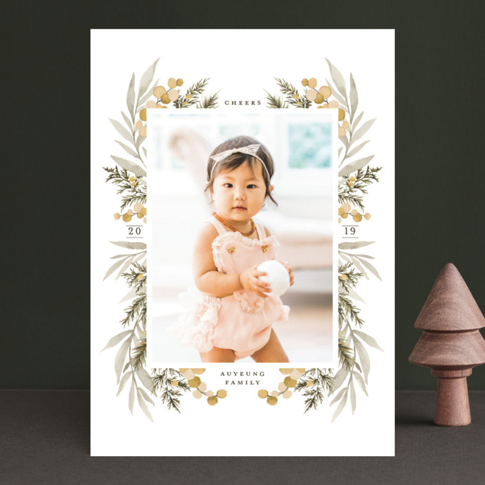 """""""Symmetrical Floral Border"""" - Christmas Photo Cards in Cranberry by Wildfield Paper Co.."""