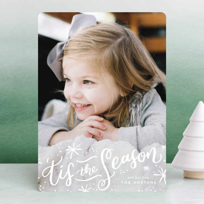 """'Tis the Holiday Season"" - Christmas Photo Cards in Poinsettia by Frooted Design."