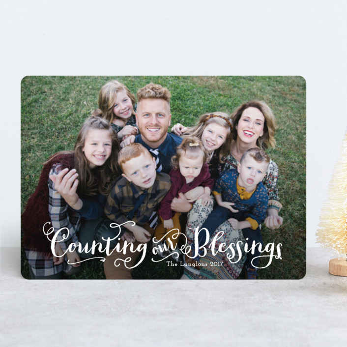 """Grateful"" - Christmas Photo Cards in Snow by Alston Wise."