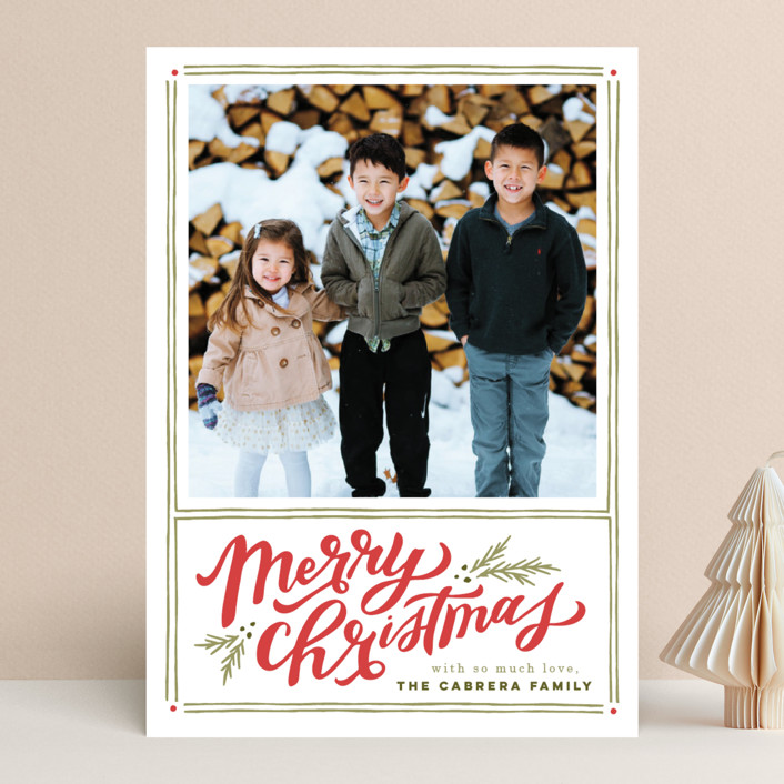"""A Very Merry Christmas"" - Vintage Christmas Photo Cards in Holly Berry by Wildfield Paper Co.."