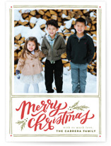 This is a red photo christmas card by Wildfield Paper Co. called A Very Merry Christmas with standard printing on smooth signature in standard.