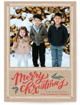 This is a brown photo christmas card by Wildfield Paper Co. called A Very Merry Christmas with standard printing on smooth signature in standard.