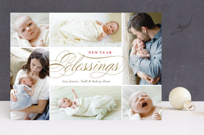 """Blessings Abound"" - Christmas Photo Cards in Golden by Carrie ONeal."