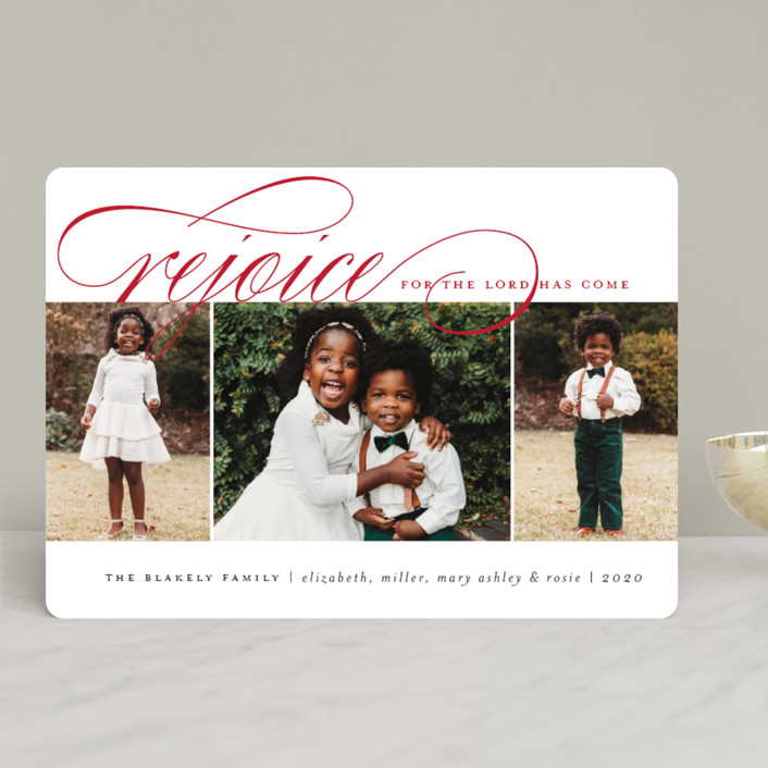 """Arrival Rejoiced"" - Christmas Photo Cards in Snow by Amy Kross."