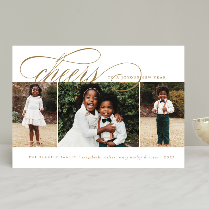 """""""Arrival Rejoiced"""" - Christmas Photo Cards in Golden by Amy Kross."""