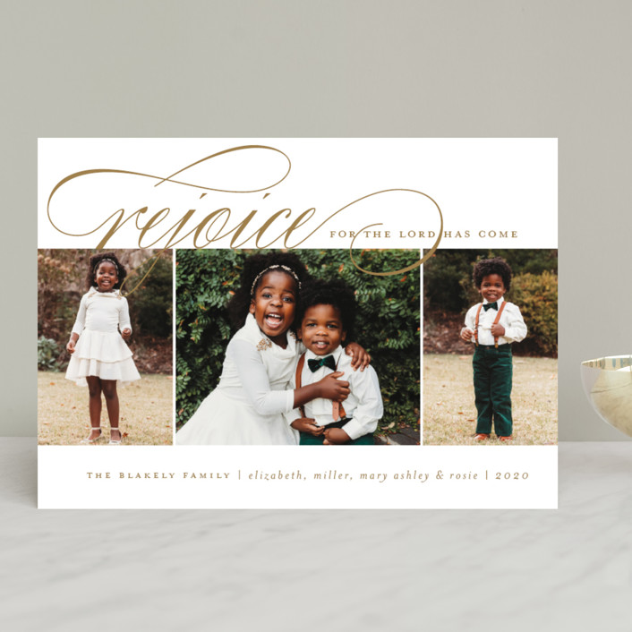 """Arrival Rejoiced"" - Christmas Photo Cards in Golden by Amy Kross."