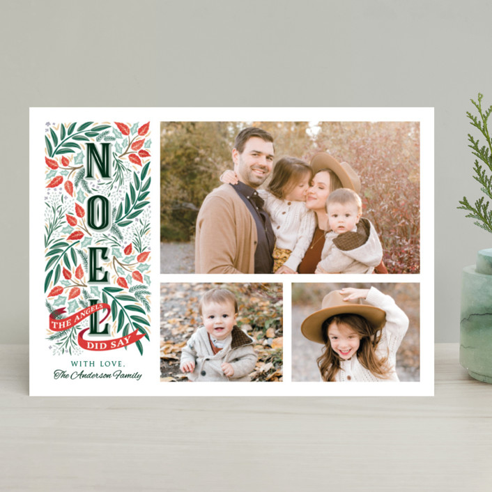 """Noel"" - Christmas Photo Cards in Eucalyptus by Paper Sun Studio."