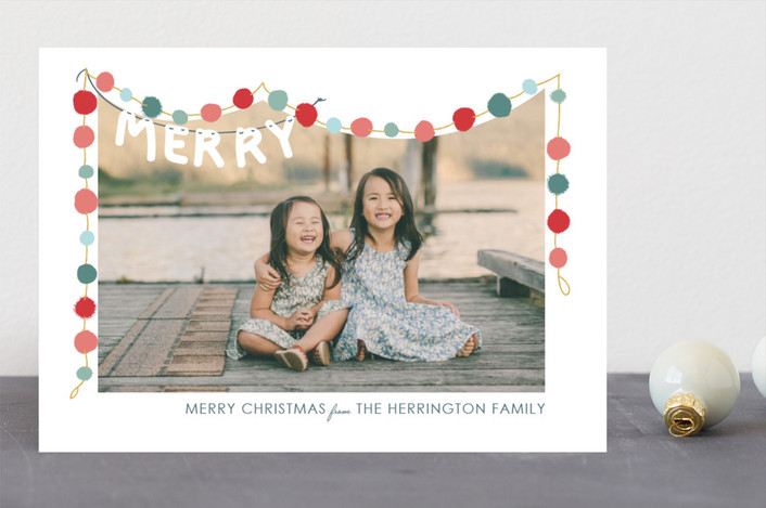 """Felted Garland"" - Christmas Photo Cards in HollyJolly by Novel Paper."