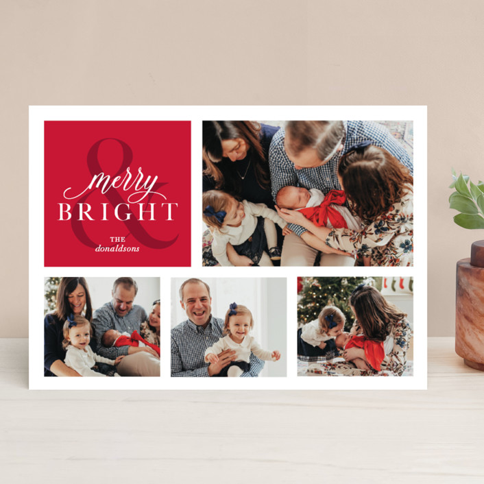 """""""Merrily Bright"""" - Christmas Photo Cards in Cherry by Ellis."""