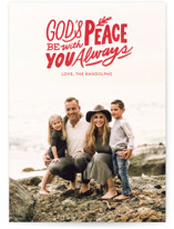 This is a red photo christmas card by Griffinbell Paper Co. called Peace Always with standard printing on smooth signature in standard.