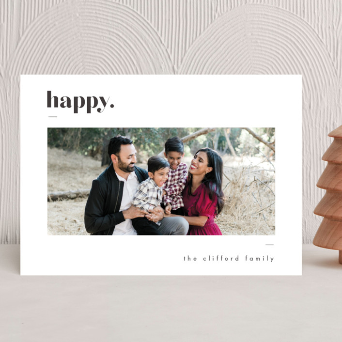 """Bold Merry"" - Christmas Photo Cards in Ash by That Girl Press."