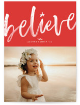 This is a red photo christmas card by Erica Krystek called Brushed Believe with standard printing on smooth signature in standard.