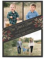 This is a black photo christmas card by Chris Griffith called Cheers for the New Year with standard printing on smooth signature in standard.