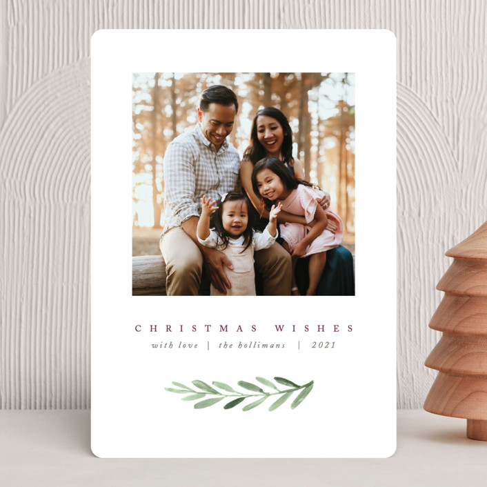 """""""Clean Laurel Wishes"""" - Christmas Photo Cards in Golden by The Carillos."""